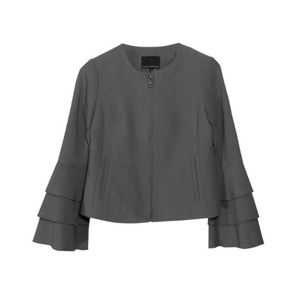 Banana Republic Grey Ruffle Bell Sleeve Jacket
